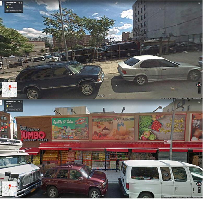 Mit Google Street View zu analysieren, Lebensmittel, Einzelhandel, in der Bronx